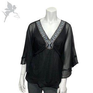 NWTWHITE HOUSE BLACK MARKET Embroidered Kimono top